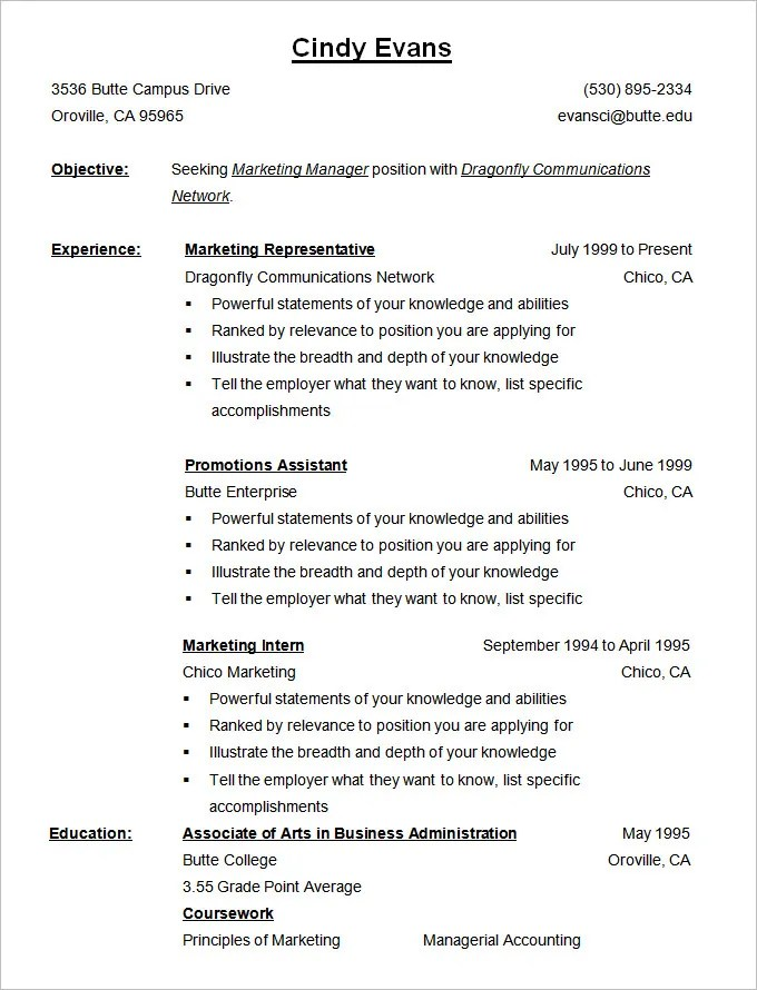 Example Of College Resume For High School Senior. College Students