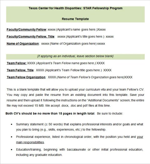 Fill In Blank Resume Templates for Faculty