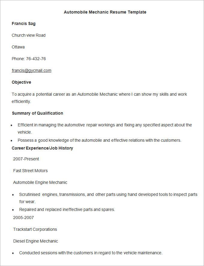 auto mechanic resume templates automotive technician resume mechanic resume example