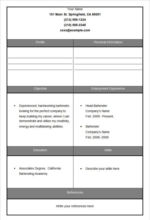 Sample Fill In Bartender Blank Resume Template