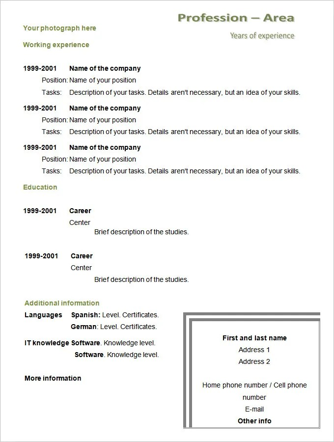 Example Of Chronological Resume Format. Example Chronological
