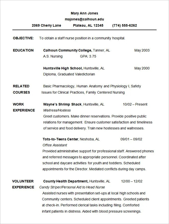 Good Example Of Chronological Resume. Example Of A Good