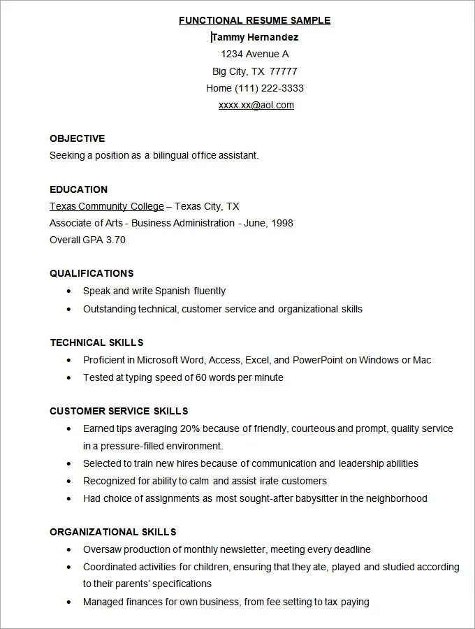 sample free functional resume template free download combination