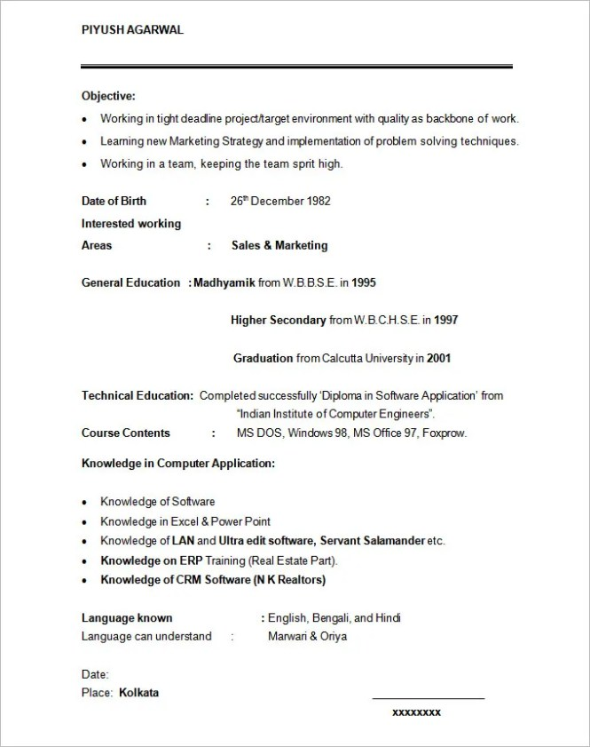 resume format for graduates resume sample - Marketing Student Resume
