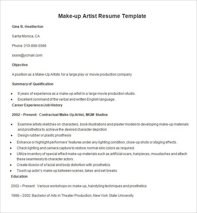 makeup artist resume sample experience makeup artist resume sample