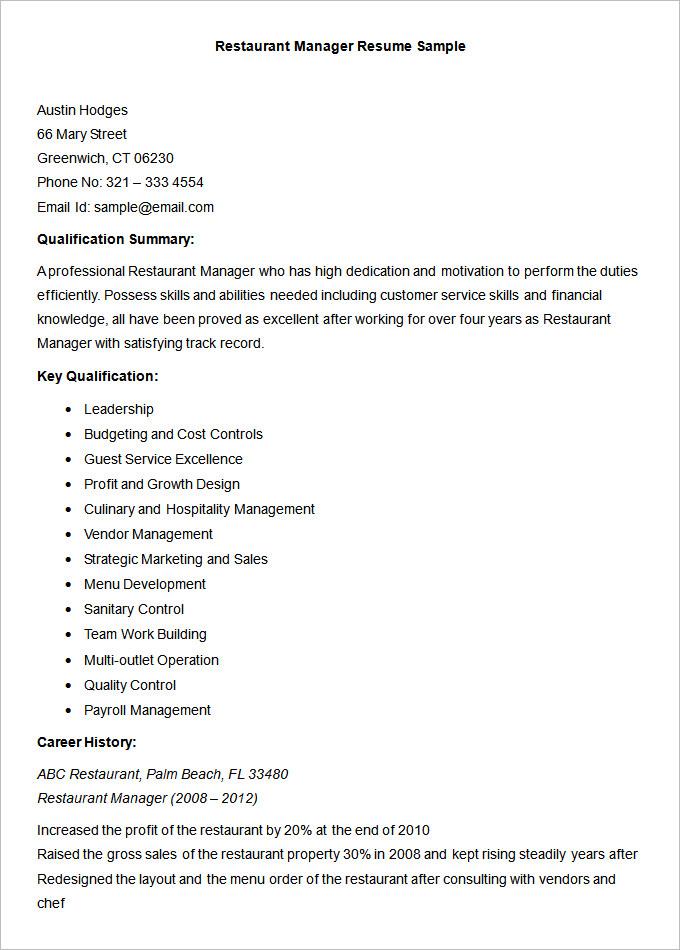 Restaurant Resume Sample. Resume Examples Samples Restaurant Owner