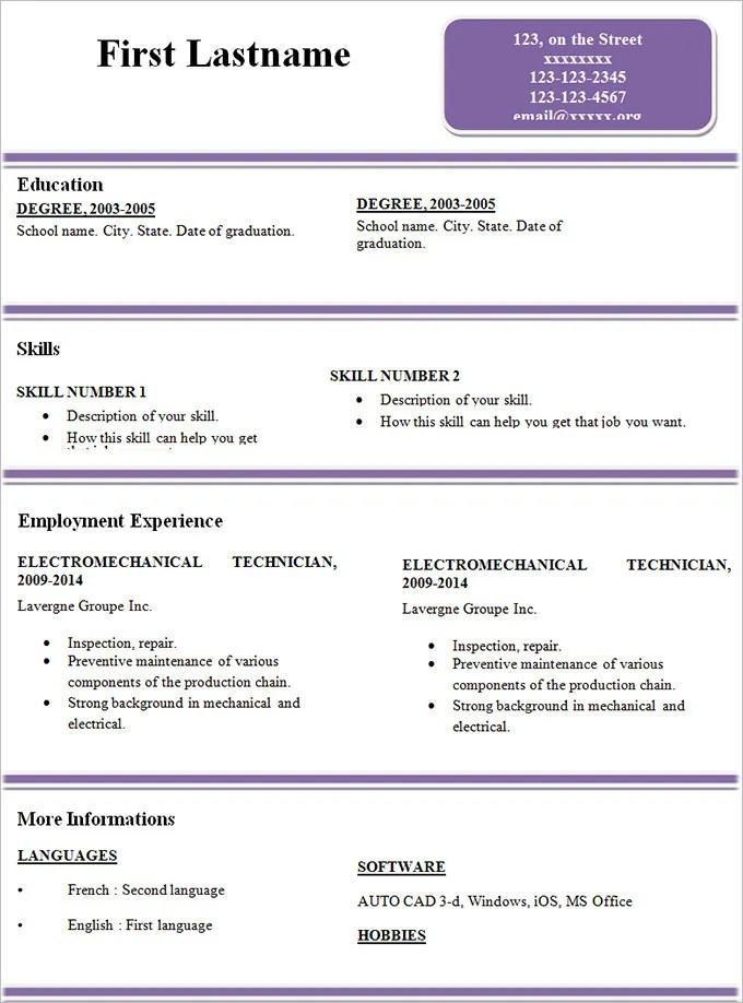 Sample Updated Resume Format 2014. Free Professional Resume