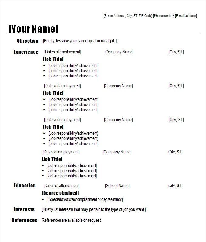 Chronological Resume Sample. Sample Chronological Resume Templates