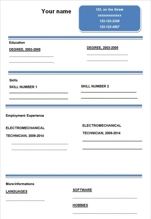 Simple & Elegant Blank Resume Template