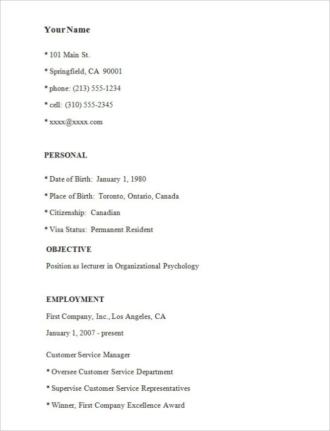 simple resume template 39 free samples examples format - Resume Sample Format Simple