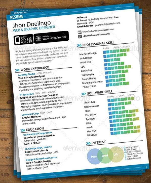 graphic design resume template word download on pinterest web designer