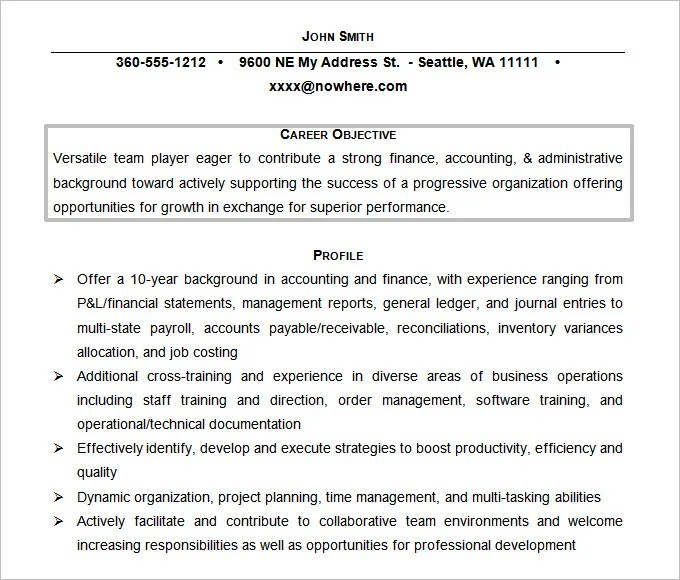 accounting objectives resume resume template accounting