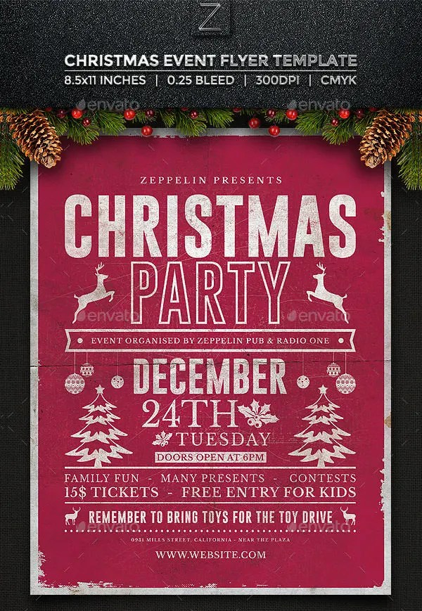 christmas door decorating contest flyer template