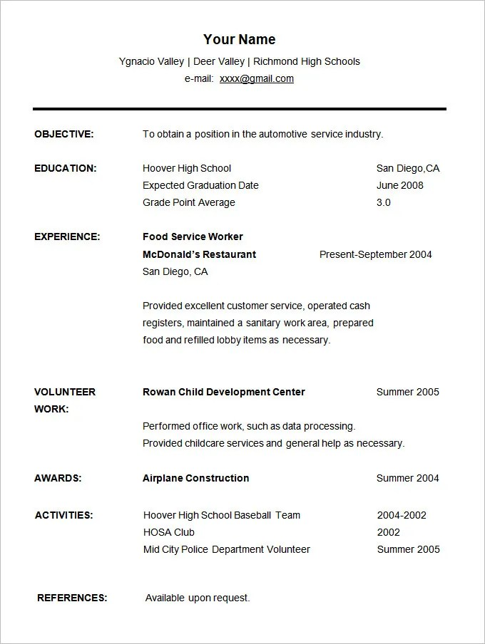 Sample Of High School Student Resume For College. Resume For