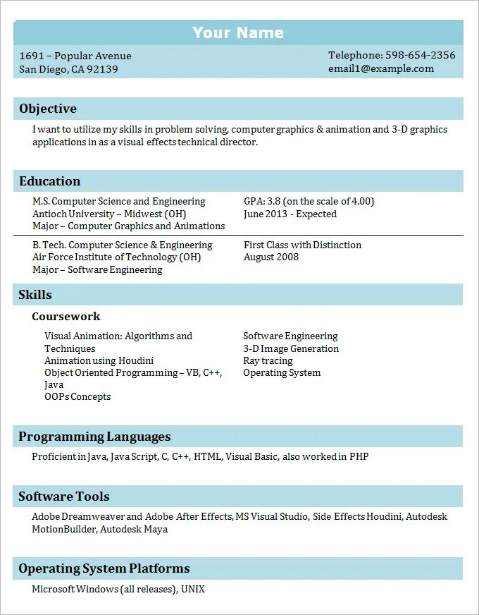 sample it professional student resume template