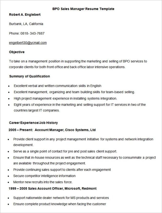 Bpo Resume Format  Resume Sample
