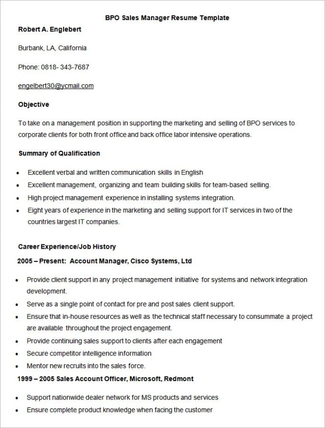 Bpo Resume Template. Summary Resume Template Career Summary Example ...