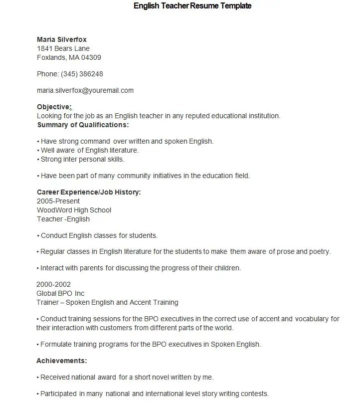 Teacher Resume Templates Free Download. This Image Has Been