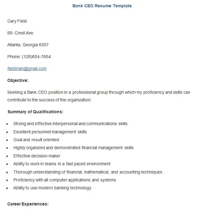 Ceo Resume Template | Resume Format Download Pdf