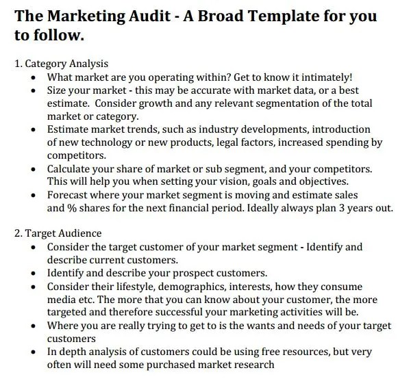 Audit Template Word marketing audit template free word excel – Audit Templates Free