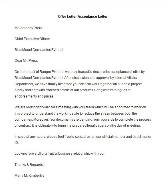 Acceptance Letters Interview Acceptance Letter Example Of A Letter