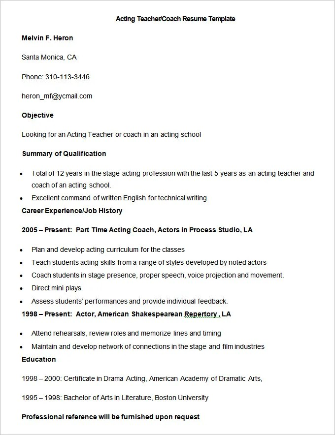 51 teacher resume templates free sample example format
