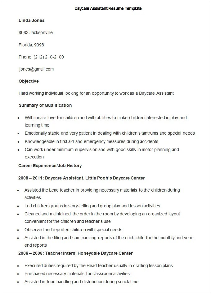 child care resume sample childcare resume jennifer smith job