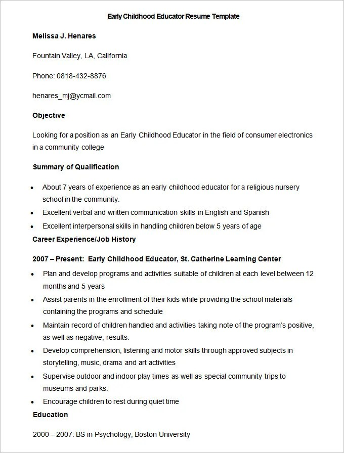Early Childhood Teacher Resume Cover Letter. Early Childhood