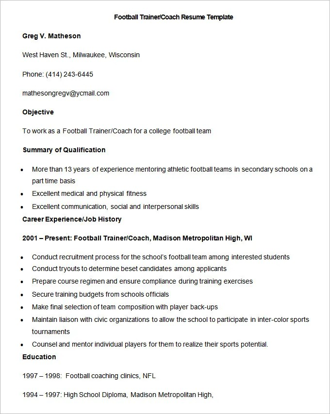 Coaching Resume Football Basketball Court Dimensions Ncaa