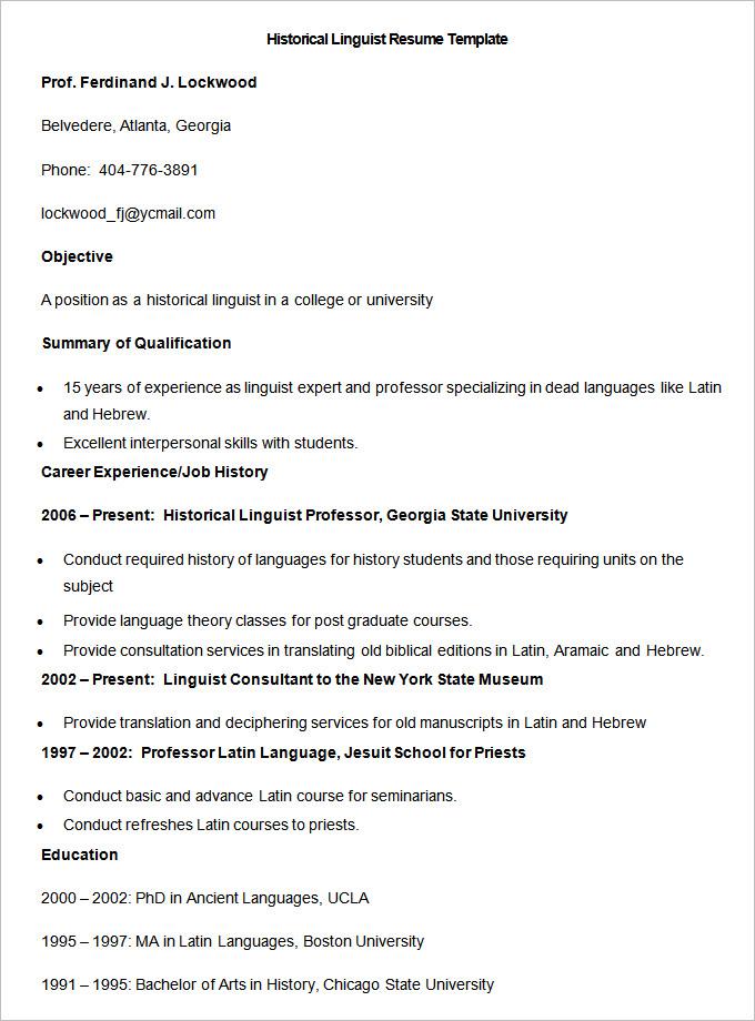 Sample Historical Linguist Resume Template