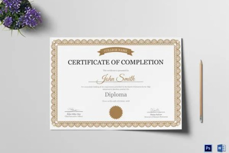 Certificate of Completion Template   34  Free Word  PDF  PSD  EPS     High School Certificate of Completion Template