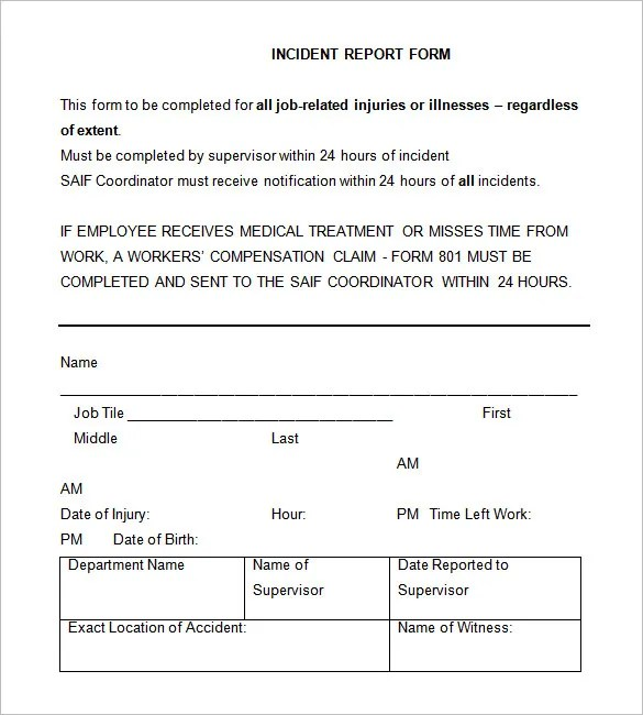 Free Accident Forms Templates   Mytemplate.Co