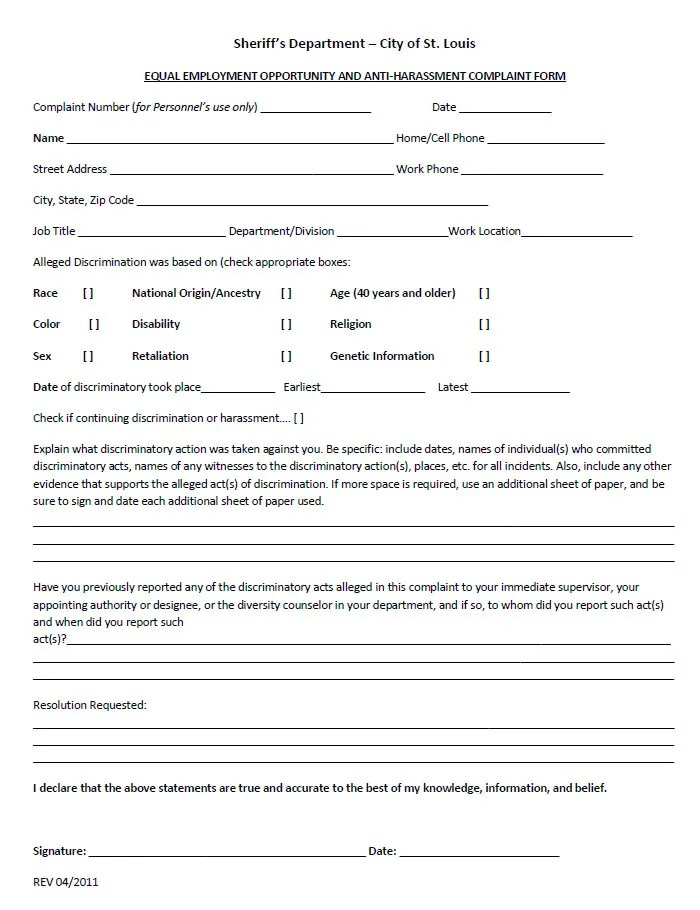 Beautiful Eeoc Complaint Form Images - Resume Samples & Writing ...