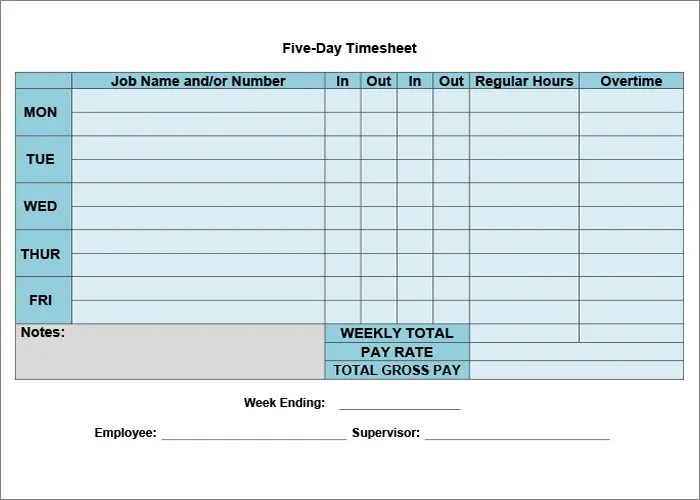 Timesheet TemplateTimesheet Calculator  All Form Templates