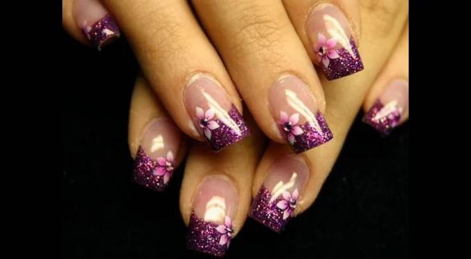 Cute Acrylic Purple Nail Design For Short Nails