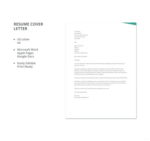 Resume Cover Letter Template     17  Free Word  Excel  PDF Documents     Fresher Mechanical Engineer Resume Cover Letter Template