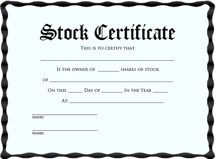 Certificate Of Template certificate template stock – Example of Share Certificate