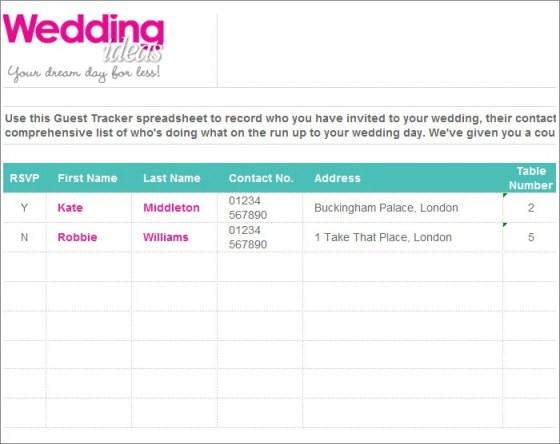 Wedding Guest List Template Word Wedding Invitation Sample – Wedding Contact List Template