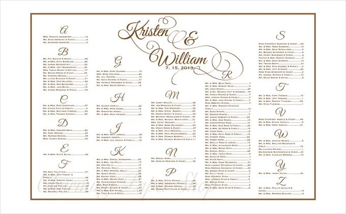 Table Seating Chart Template. Table Seating Chart Template 14 Free