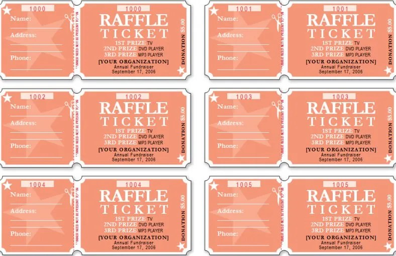 Ticket Template |Raffle Ticket Template | All Form Templates