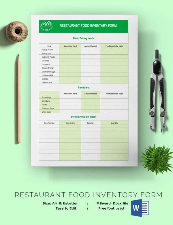 List Template Food Excel