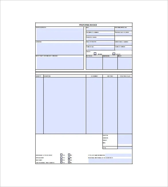 Formal Invoice Template pro forma sample proforma invoice – Formal Invoice Template