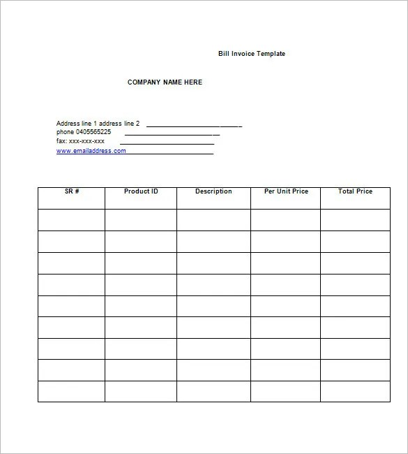 Billing Invoice Template 7 Free Printable Word Excel