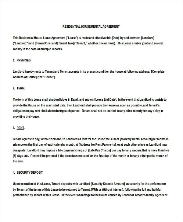 15 House Rental Agreement Template DOC PDF Free