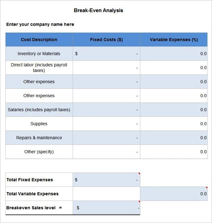 free break even analysis template break even point break even – Break Even Excel Template