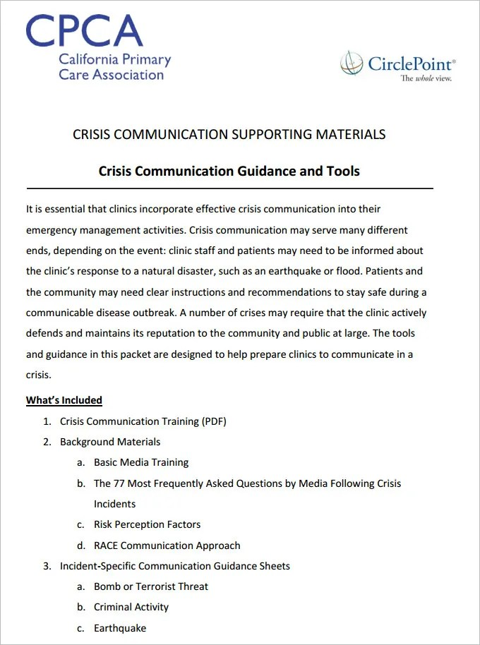 4 Crisis Communication Plan Templates Doc Pdf Free