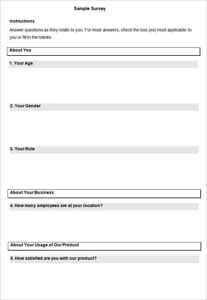Doc700942 Blank Survey Template Word Template Survey Employee – Word Survey Templates
