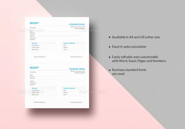 16  Free Microsoft Word Receipt Templates Download   Free   Premium     Microsoft Word Simple Receipt Template