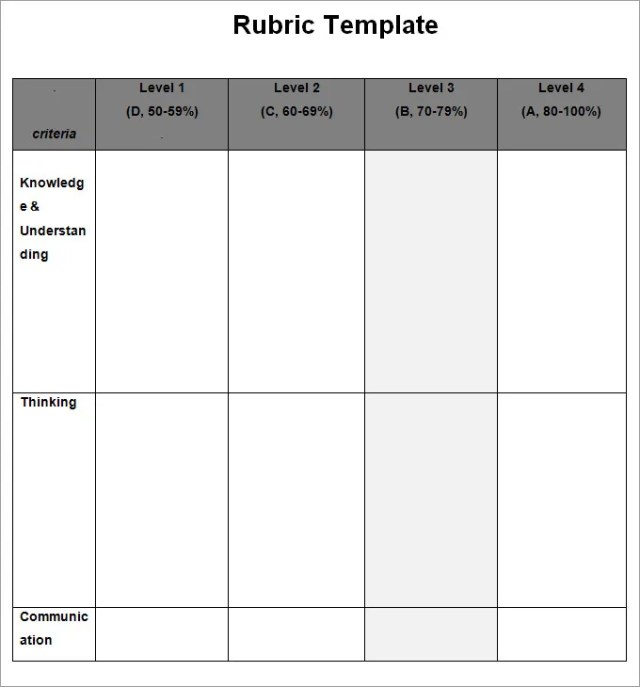 Blank Rubric Template  Free Download
