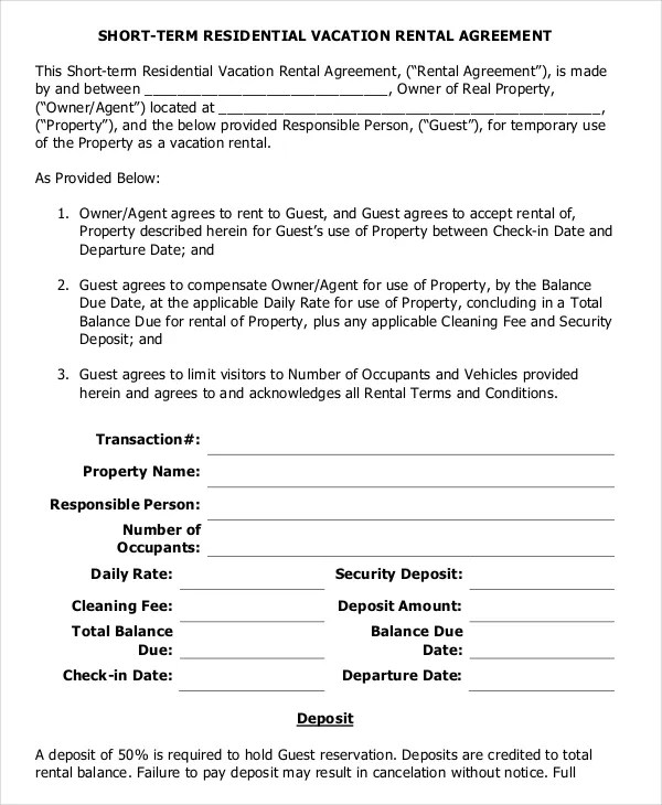 10 Vacation Rental Agreement Free Sample Example